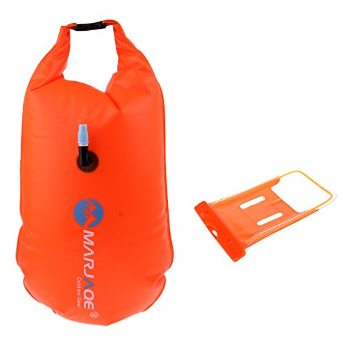 Baosity Durable PVC Roll Top Dry Bag Swimming Tow Float + Waterproof Phone Case For Open Water Swimmers and Triathletes - Orange by Baosity (Image #4)