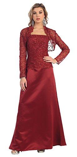 Mother of the Bride Formal Evening Dress #7837 (4XL, Burgundy)