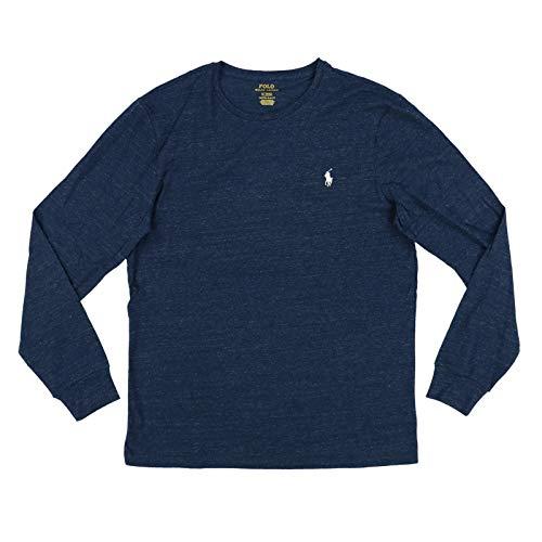 Polo Ralph Lauren Mens Long Sleeve Crew Neck Custom Slim Fit T-Shirt (M, Marine Blue Heather)