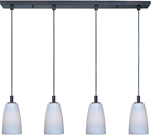 (ET2 E92044-13BZ Carte 4-Light Linear Pendant, Bronze Finish, White Ripple Glass, MB Incandescent Bulb, 7W Max., Dry Safety Rated, 3000K Color Temp., Electronic Low Voltage (ELV) Dimmable, Shade Material, 2100)