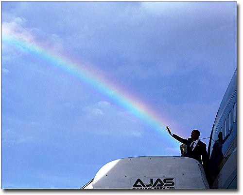 - President Obama Air Force One Rainbow Waving 8x10 Silver Halide Photo Print