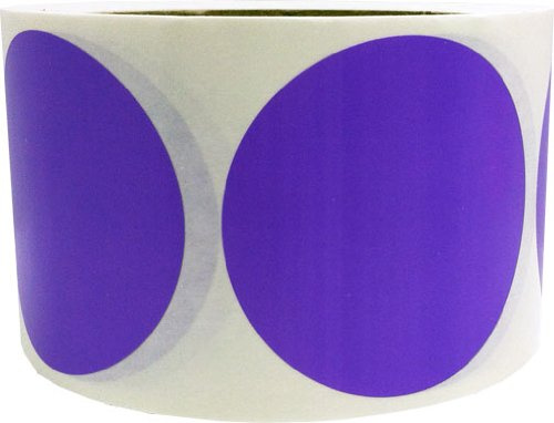 "Purple Color Coding Dot Labels 3"" Inch Round - 500 Colored Circle Inventory Stickers Per Roll"