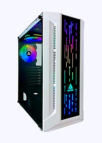 Apevia Matrix-WH Mid Tower Gaming Case with 1 x Tempered Glass Panel, Top USB3.0/USB2.0/Audio Ports, 4 x RGB Fans, White Frame