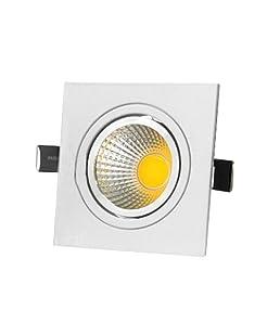 BRILLRAYDO 5W Square LED COB Reccessed Ceiling Spot Light Fixture Bulb Cabinet Lamp White-Kit Warm White