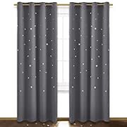 NICETOWN Twinkle Star Curtain for Nursery - Starry Night Sleep-Enhancing Cosmic Themed Curtain Stars, Draft Blocking Blackout Curtain Panel (1 Pack, W52 x L84 inch, Gray)