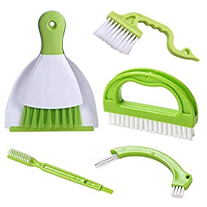 Best Epic Trends 416UfjFPm3L._SS300_ Hand-held Dustpans Grout Brush Groove Gap Cleaning Tools set, LeeLoon Household Cleaning Brushes for Table, Desk…