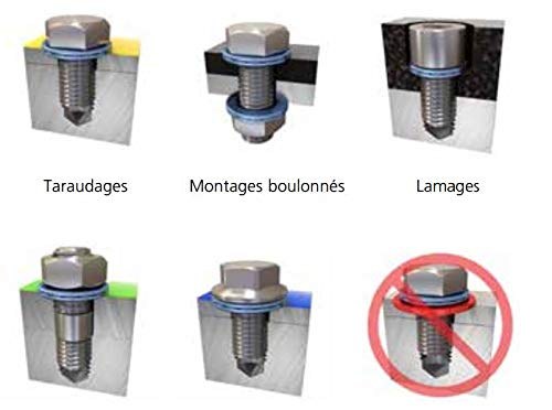 Wedge Locking Washer Carbon STL Zinc Flake Coated THR Lrg OD 20 glued Pairs//Pack Hard #8 M4