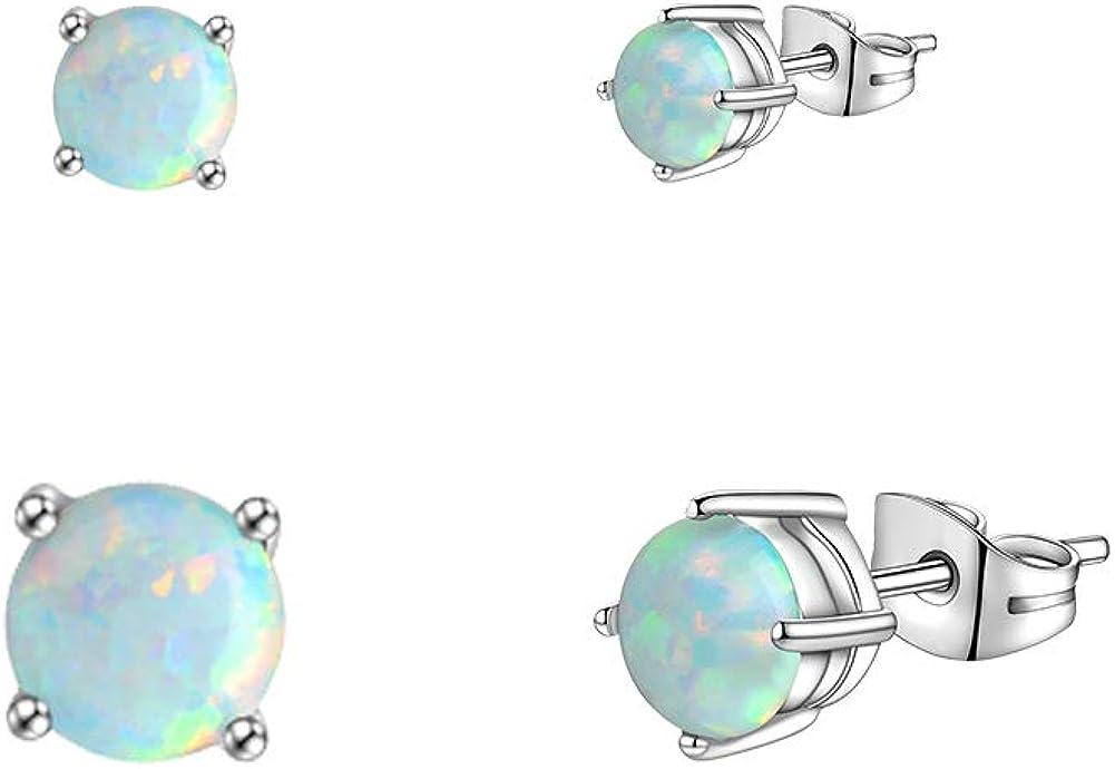 3mm 4mm 5mm 6mm Fire Opal Stud Earrings Set Stainless Steel Tiny 20G Piercing Earrings Pack for Women Men Unisex White