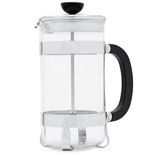 French Press Coffee Maker – Heat Resistant Borosilicate Glass with High-Grade Stainless Steel to Keep Drinks Hot for Longer – BPA-Free - Super Efficient Filtration System - 34 oz. (1 liter)