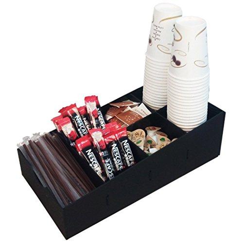 Condiment Organizer and Coffee Pod Holder 7 Compartment, Color Black, Size 8 3/4 x 16 x 5 1/4 Inches
