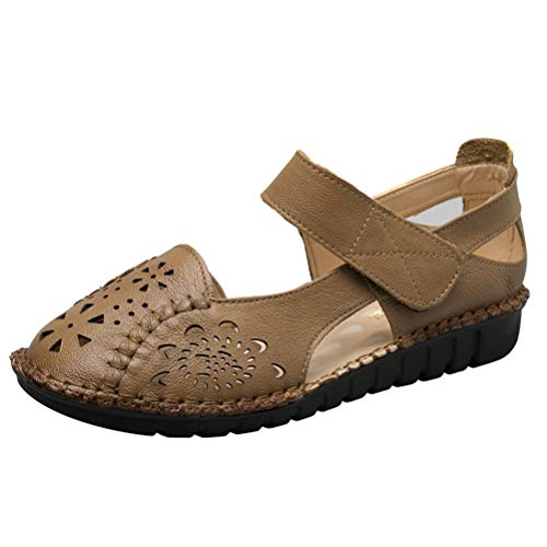 (Mordenmiss Women's Hollow Out Sandals Vintage Hook Loop Handmade Mary Jane Flat Carving Moccasins Khaki US 7.5)