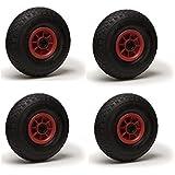 Lot de 4 roues gonflables 3.00-4 (2PR) pour diable, brouette et chariot 260 x 85 Alésage 25