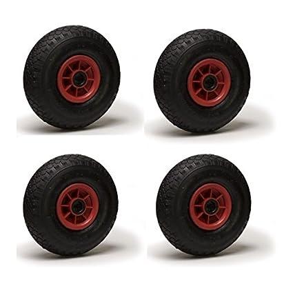 Lote de 4 ruedas inflables 3.00-4 para carretilla y carro, 260 x 85