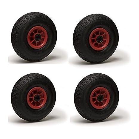 Lote de 4 ruedas inflables 3.00-4 para carretilla y carro, 260 x 85 mm, alesado de 25 cm.: Amazon.es: Bricolaje y herramientas