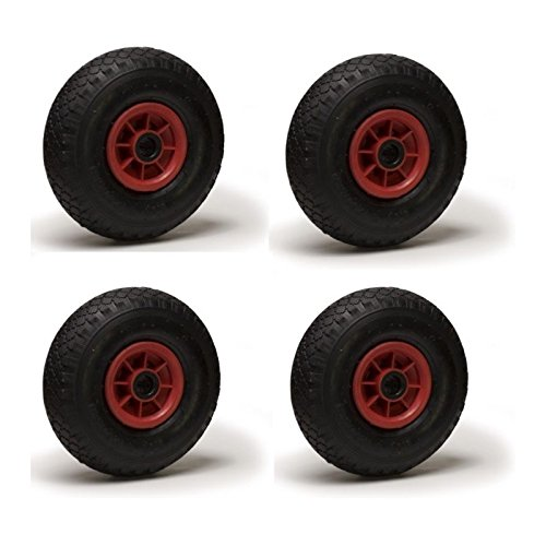 Set of 4 Pneumatic Tyres 3.00-4 for Sack Truck, Wheelbarrow and Trolley - 260 x 85; Bore: 25 mm roues-et-roulettes.com