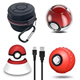 Accessories Kit for Pokeball Plus Controller, VOKOO Carrying Case, Clear Case, Silicone Cover and Charger Stand Compatible with Nintendo Switch Pokémon Lets Go Pikachu Eevee Game, 4-in-1