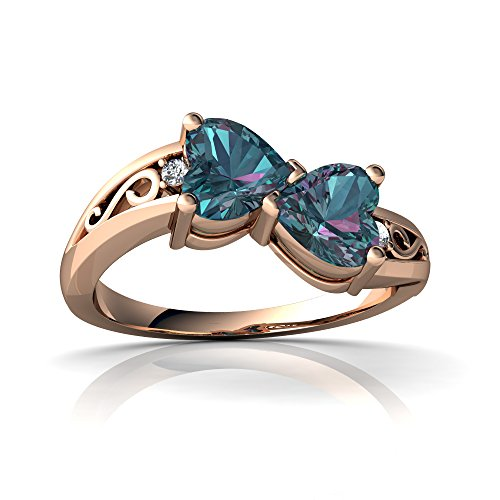 14kt Rose Gold Lab Alexandrite and Diamond 5mm Heart filligree Bypass Ring - Size 6.5
