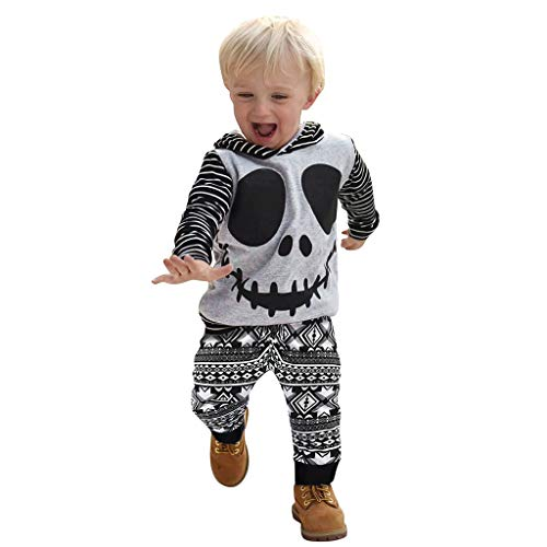 Baby Boys Halloween Costume, Toddler Infant Cartoon Skeleton Hoodie Sweatshirt Tops Geometry Casual Pants Birthday Party Outfits (Gray, 18-24 Months)