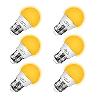 Briignite Bug Light Bulb Yellow LED Bulbs, Outdoor Porch Light, Amber Bedroom Night Light Bulb G14 Bug LED Bulb, 25W Equivalent E26 Edison Bulb(3W), Warm LEDs Hallway Lighting Decorative Lamps(6 Pack)
