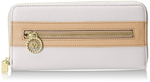 Anne Klein Women's New Recruits Zip Around Wallet, Optic White-Natural, One Size