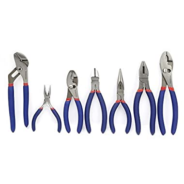 WORKPRO W001306A 7-piece Pliers Set (8  Groove Joint Pliers, 6  Long Nose, 6  Slip Joint, 7  Linesman, 8  Slip Joint)
