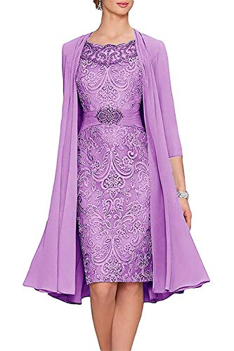 - Meaningful Short Formal Tea Length Mother of The Bride Dresses Two Piece Prom Dresses with Jacket Lilac Size 0