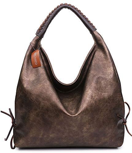 Shomico Hobo Bags For Women Shoulder Handbags Ladies Large Fashion Vintage Purse Metallic (large, Metallic brown) (Metallic Shoulder Bag Vintage)
