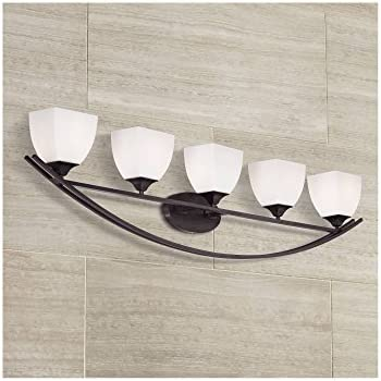 "Lighting on The Square Modern Wall Light Bronze 45"" Opal ..."