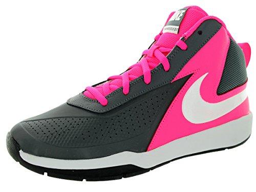 Nike Boy's Team Hustle D 7 Basketball Shoe (3.5y-7y) Dark Grey/Pink/Black/White Size 7 M US ()