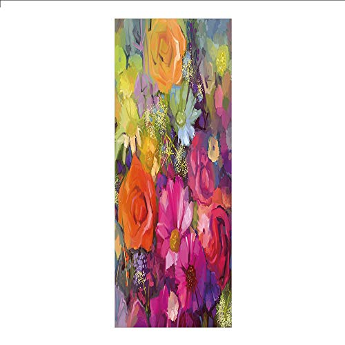 Decorative Privacy Window Film/Vibrant Flower Bouquet with Daisy Peony Gerbera Petals Romantic Arrangement Print/No-Glue Self Static Cling for Home Bedroom Bathroom Kitchen Office Decor Multicolor