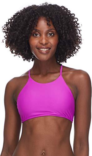 (Body Glove Women's Smoothies Elena Solid High Neck Crop Bikini Top Swimsuit, Magnolia, X-Large)
