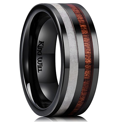 King Will Nature 8mm Antlers & Wood Inlay Black Ceramic Mens Wedding Ring Flat Style6.5