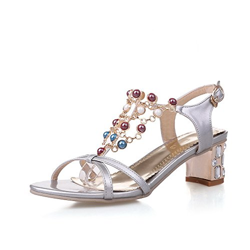 Assorted Buckle Material Silver Color AmoonyFashion Soft Toe Kitten Womens Sandals heels Open qF1cw7EC