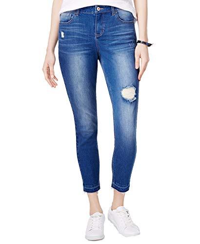(Vanilla Star Juniors' Ripped Released-Hem Skinny Jeans (Dark Homer, 13))