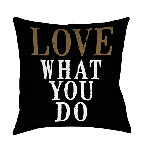 Single Piece Black Gold White Love What You Do Quote Throw Pillow, 26 Inch, Square Shape, Typography Themed Design, Modern Style, Accent Type, Spot Clean, Reversible Bedding Feature, Polyester