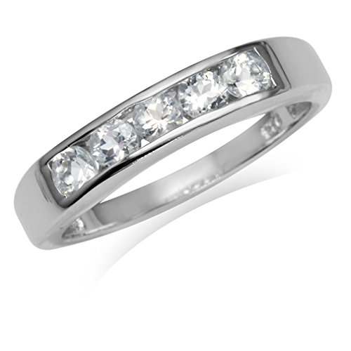 5-Stone Genuine White Topaz Gold Plated 925 Sterling Silver Ring Size 6 ()