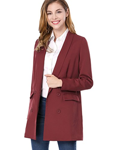 Allegra K Women's Shawl Collar Double Breasted Flap Pockets Blazer XS Red (Double Breasted Shawl Collar)
