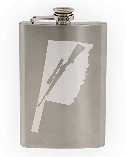 State of Oklahoma with Scoped Hunting Style Rifle Cutout Etched 8oz Stainless Steel Flask]()