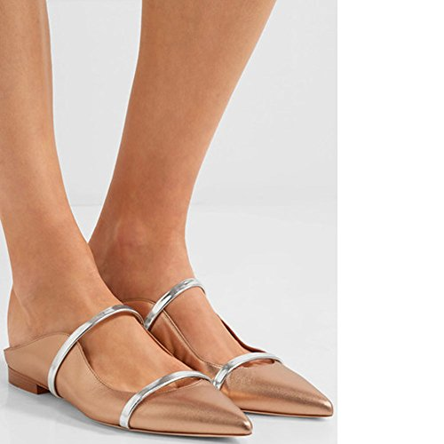 Comfity Backless Band Two Mules Slippers for Dress Pointed Women Toe Narrow Slides Single Gold Flats PxPwrq1AU