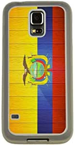 Rikki KnightTM Ecuador Flag on Distressed Wood Design Samsung? Galaxy S5 Case Cover (Clear Rubber with Bumper Protection) for Samsung Galaxy S5 i9600