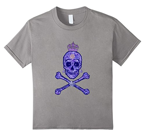Kids Scary Glitter Skull Princess Halloween T-shirt 4 Slate - Drag Queen Outfit