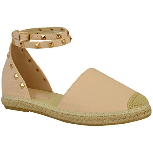 verano Corchete De Tobillo Zapatos mujer Piedra número planas Sandalias Sintética Alpargatas Carne de Piel chica Tiras q88xtvE