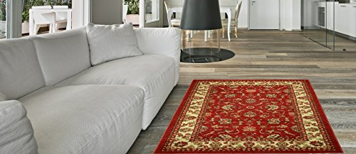 Anti-Bacterial Rubber Back AREA RUGS Non-Skid/Slip 3x5 Floor Rug | Red Traditional Floral Indoor/Outdoor Thin Low Profile Living Room Kitchen Hallways Home Decorative Traditional Rug
