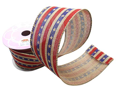 Striped Star Spangle Ribbon with a Tea Stained Themed - Wired Edge Ribbon 2 1/2