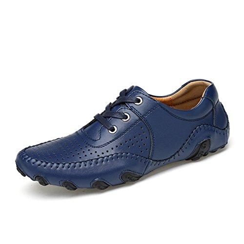 Go Tour Mens Leather Loafers Casual Driving Shoes Blue Punched 41 dRCYXKCz