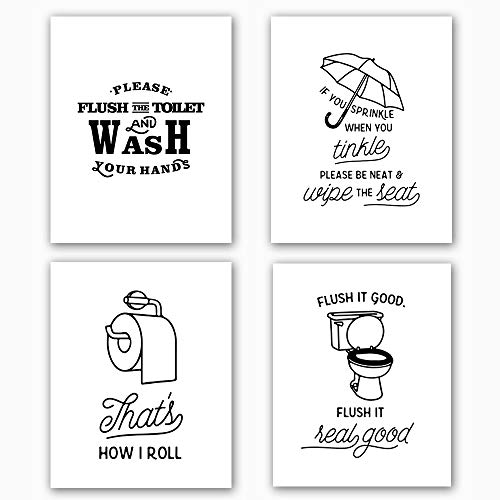 Jual Bathroom Art Print Set Of 4 10 X8 Funny Black White Washroom