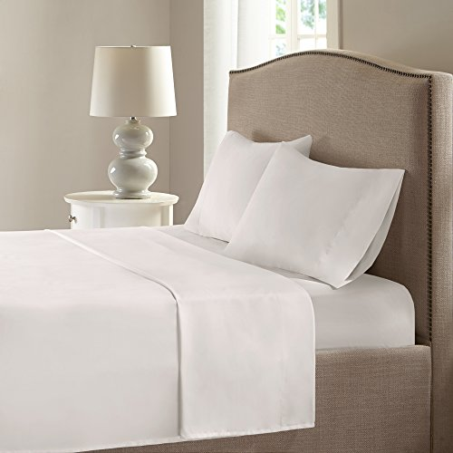 Comfort Spaces - Microfiber Smart Cool Sheets Set - CoolMax Fabric Blended For Moisture Wicking- 4 Piece - Queen - Ivory - Incl. Flat Sheet, Fitted Sheet and Pillow Cases (Ivory Fleece Sheet Set)
