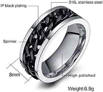 Chain Spinner Ring Fidget Band Stainless Steel Inner Polished Men and Women Fashion Jewelry 8mm Comfortable Fit
