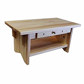 Personal Altar Table w Display Shelf 20 11 10 tall EarthBench Pine 10 w Drawer