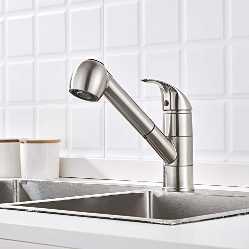 Commercial Modern Pull Out Kitchen Faucet Single Handle, Anti Wrap Pull Down Single Hole Kitchen Faucet Brushed Nickel Easy Installation Without Deck